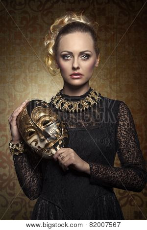 Girl With Aristocratic Lady Mask