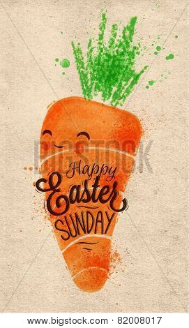 Happy easter carrot poster kraft