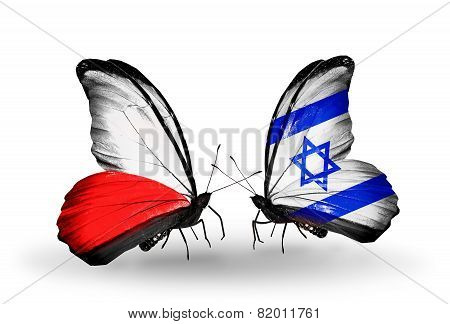 Two Butterflies With Flags On Wings As Symbol Of Relations Poland And  Israel
