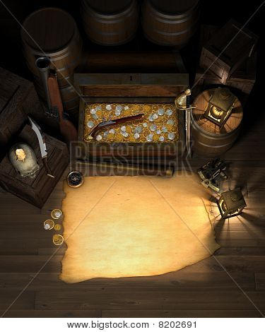 Pirate Treasure And Map