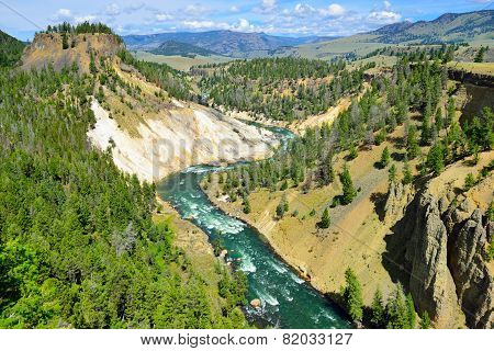 Calcite Springs Near Tower Rosevelt In Yellowstone National Park In Summer