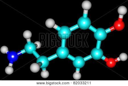 Dopamine molecule isolated on black