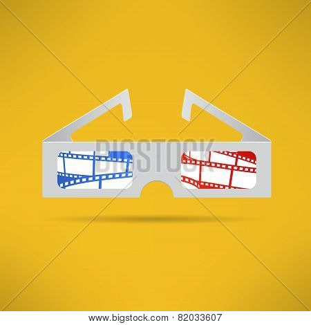 Cinema 3d glasses with footage tape inside. Modern movie theater equipment. Vector