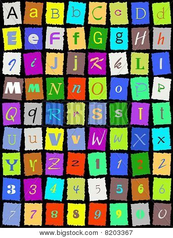 Alphabet on black