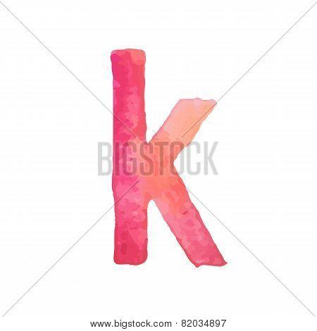 Letter K Colorful watercolor aquarelle font type handwritten hand draw doodle abc alphabet letters