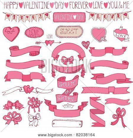 Romantic decor set.Hand drawing Valentine,wedding kit.Ribbons