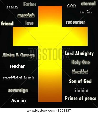 Words to describe Jesus over a black background with a large cross in the middle to symbolize his death and resurrection. poster
