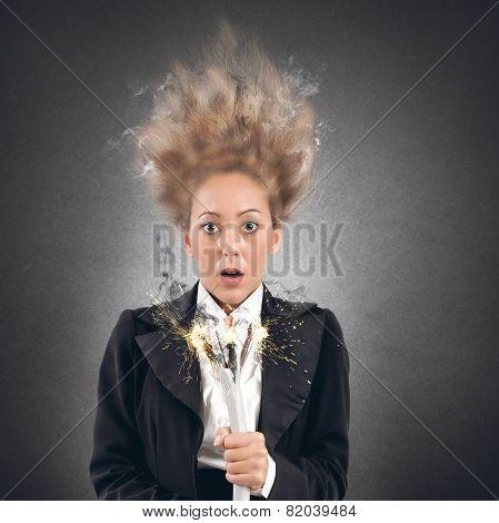 Shock businesswoman