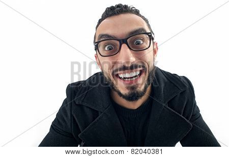 Funny Businessman with Crazy Expression isolated on white background