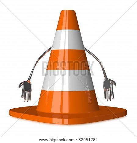 Discouraged Traffic Cone Character