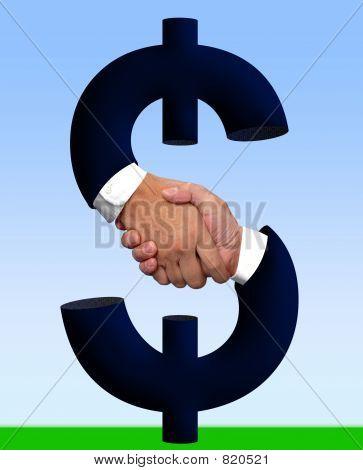 Stretta di mano con il segno del denaro
