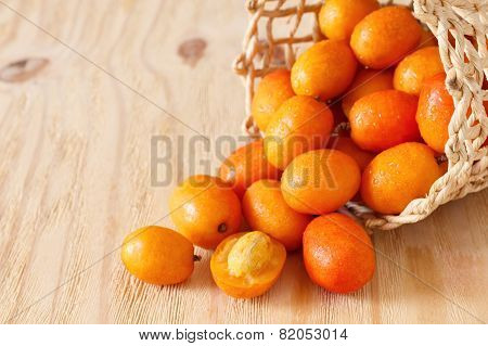 Fruit Jocote (red Mombin, Purple Mombin, Hog Plum, Ciruela Huesito, Sineguela,  Siriguela) On Wooden