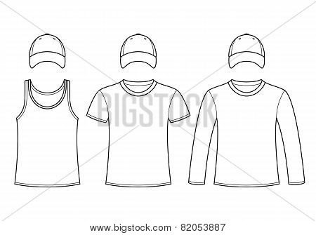 Singlet, T-shirt, Long-sleeved T-shirt And Cap Template