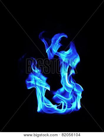 Blue Fire Flames On Black Background