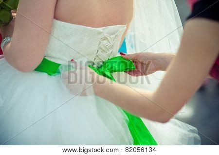 Closeup Of Lace Corset Wedding Dress Of The Bride.