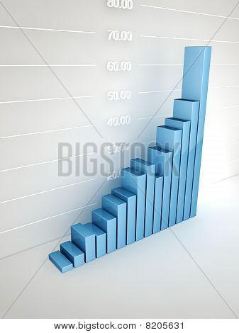 Abstract bar graph at wall