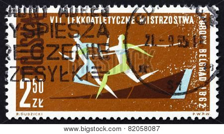 Postage Stamp Poland 1962 Race 100M Dash