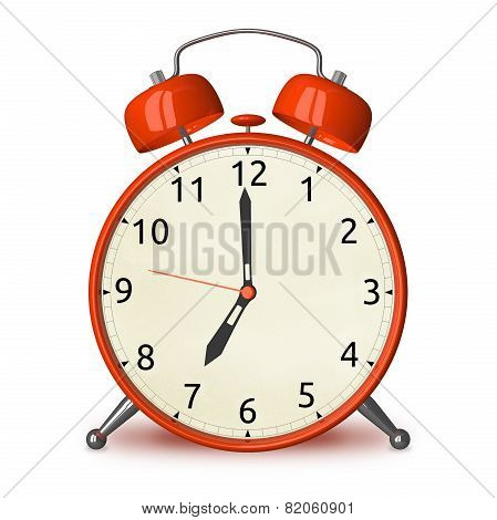 Red Alarm Clock Isolated