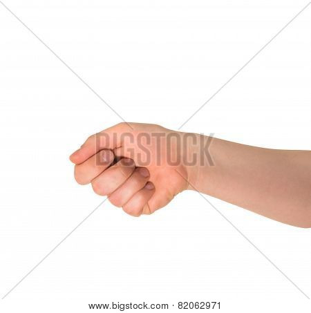 Reaching out fist held hand