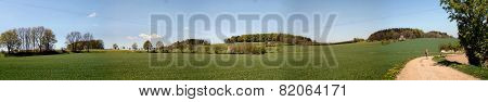Landscape in Erzgebirge in Saxony, Germany; hiker on a hiking path through fields and forests in the spring, blue sky and white clouds; panoramic poster