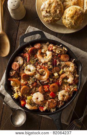 Spicy Homemade Cajun Jambalaya with Sausage and Shrimp poster