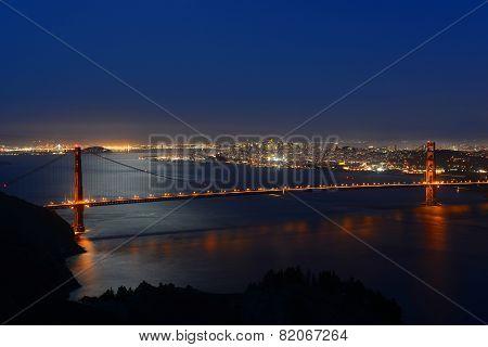 Golden Gate Bridge at night, San Francisco, USA