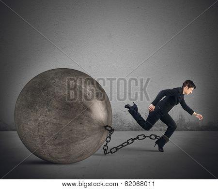Businesswoman escape