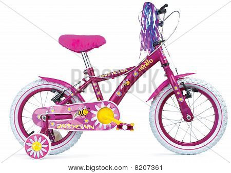 Colourful Pink Girls Childrens Bicycle From The Side
