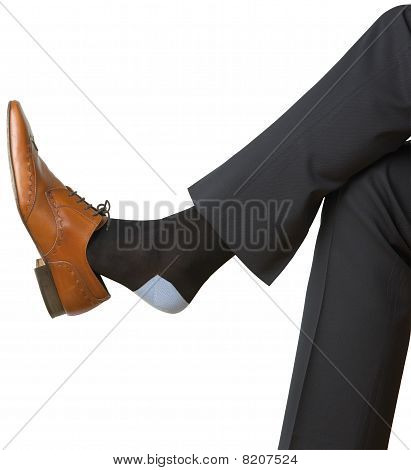 Mans Shoe And Foot On White Background