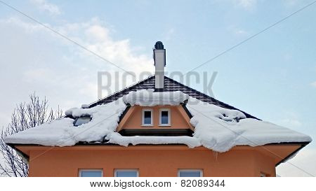 Snow On The Roof Of A House At The Warming.
