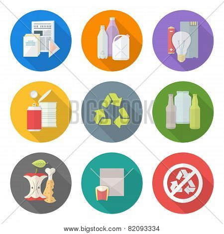 flat design different waste recycle separate collection