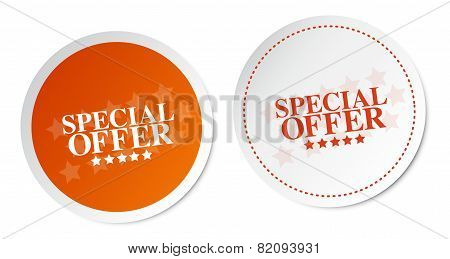 Special offer stickers on orange and white sticker poster