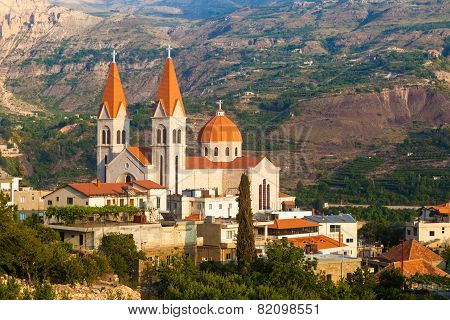 Beautiful church in Bsharri Qadisha valley Lebanon
