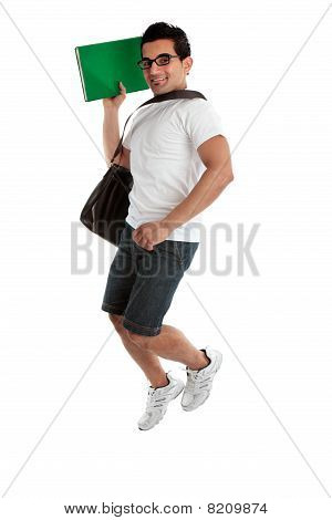 Jumping Student Holding Book