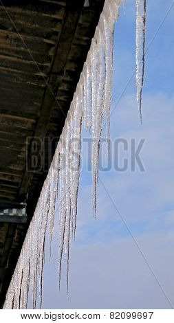 The Council Icicles On The Roof During Warming.
