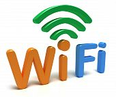 WiFi logo. 3D concept isolated on white poster
