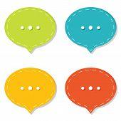Chat sign icon. Speech talk bubble symbols. Chat bubbles. Dashed line decoration. poster
