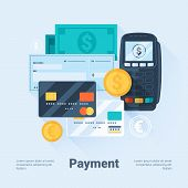 Card Money Coins and Cheque. Payment Methods Concept. Flat Style with Long Shadows. Clean Design. Vector Illustration. poster