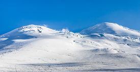 Snowy Mountain Peaks. View Of Mount Elbrus From The North, Caucasus Mountain Range, Russia
