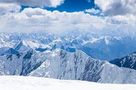 Mountain view from the top of Lenin Peak in Pamir region Kyrgyzstan