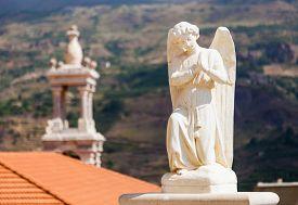 Beautiful statue of angel in church in Bsharri Qadisha valley Lebanon