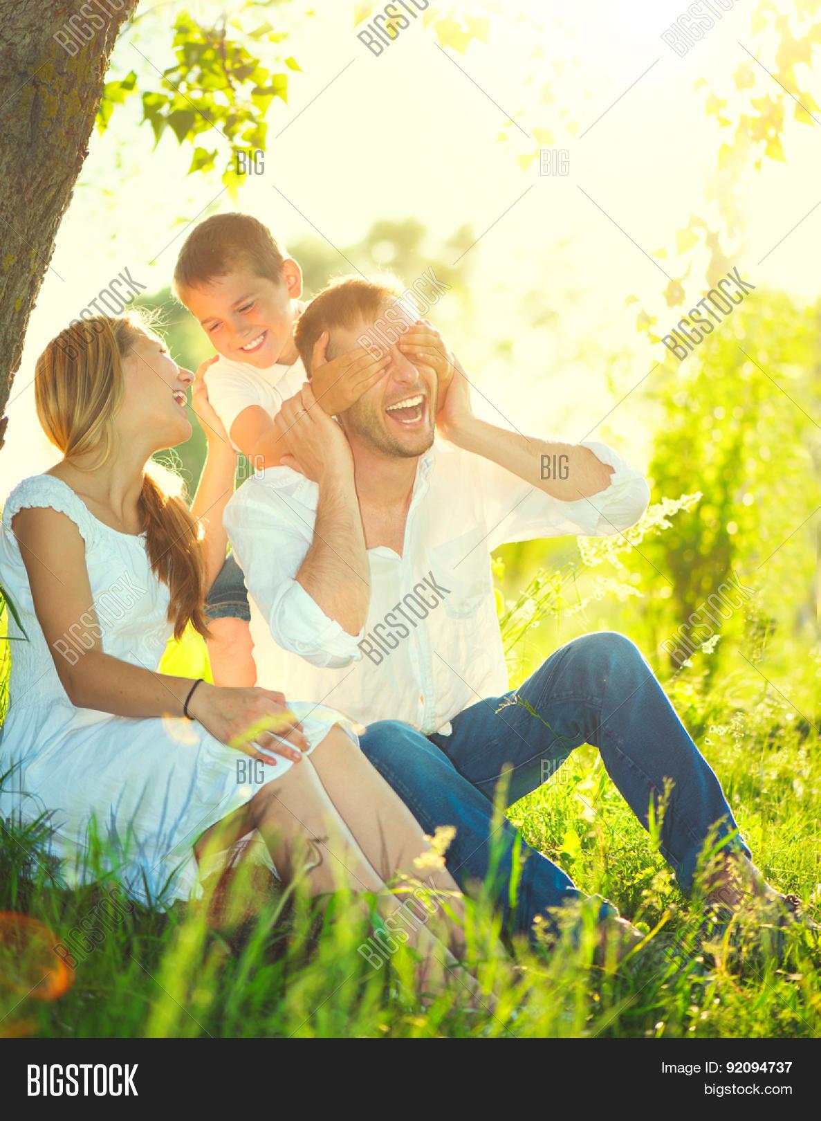 Happy Joyful Young Family Father, Image & Photo   Bigstock