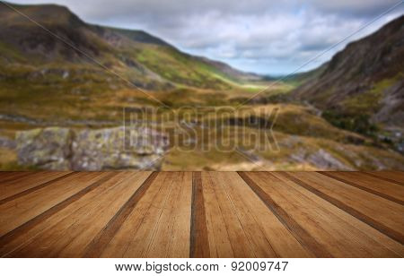 View Along Nant Francon Valley Snowdonia National Park Landscape With Wooden Planks Floor
