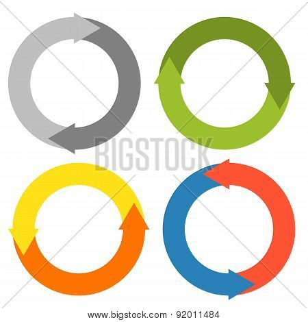 2 Arrows Making A Circle - Set Of 4 Isolated Colorful Circles