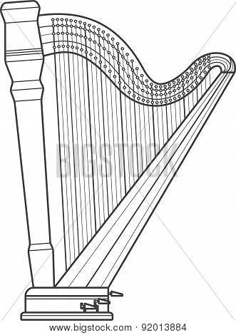 Dark Outline Pedal Harp Technical Illustration
