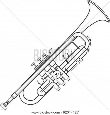 Dark Monochrome Contour Trumpet Wind Instrument Illustration.