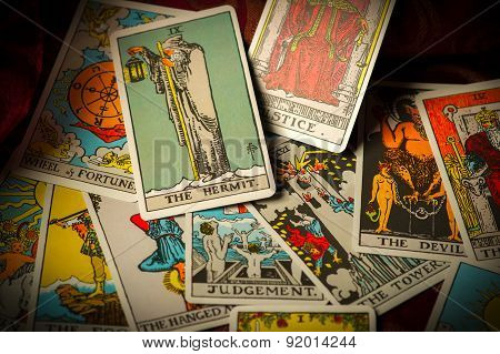 Jumbled And Scattered Pile Of Tarot Cards