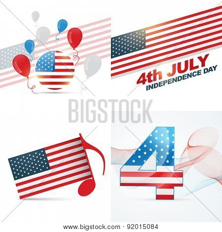 vector set os american independence day flag design with balloon,wave and music note illustration