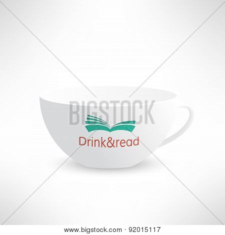 Vector cup with book in realistic design. Boooks cafe logo. Cool reading background