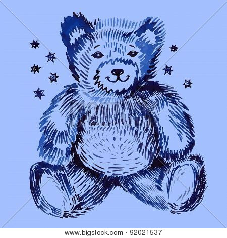Sitting bear (handpaint watercolor). Vector illustration isolated on background poster